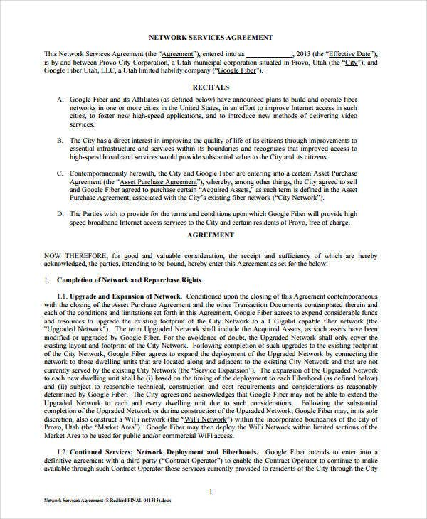 network services agreement