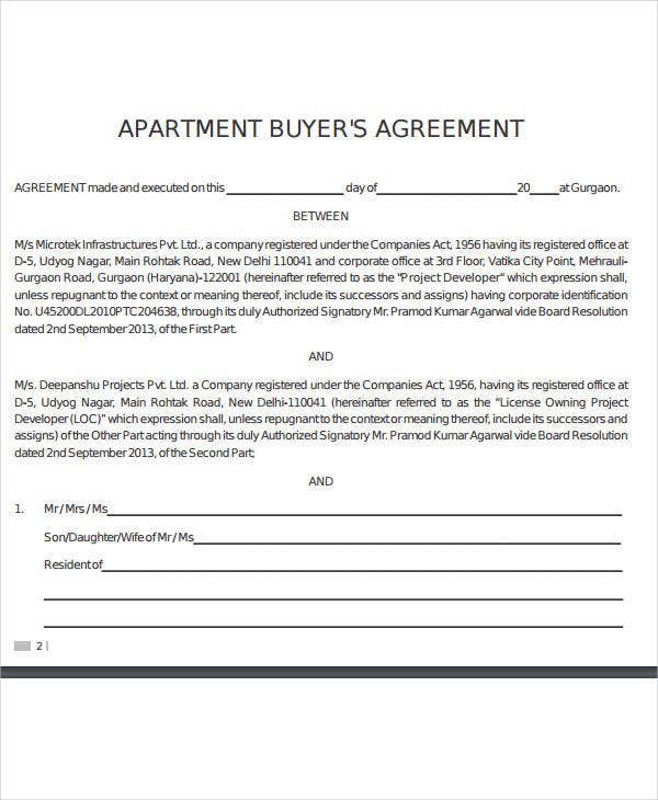 new apartment buyers agreement