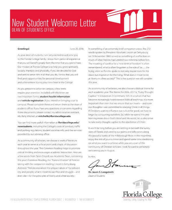 New Student Welcome Note