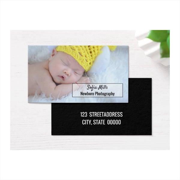 Newborn Baby Photographer Photo Business Card