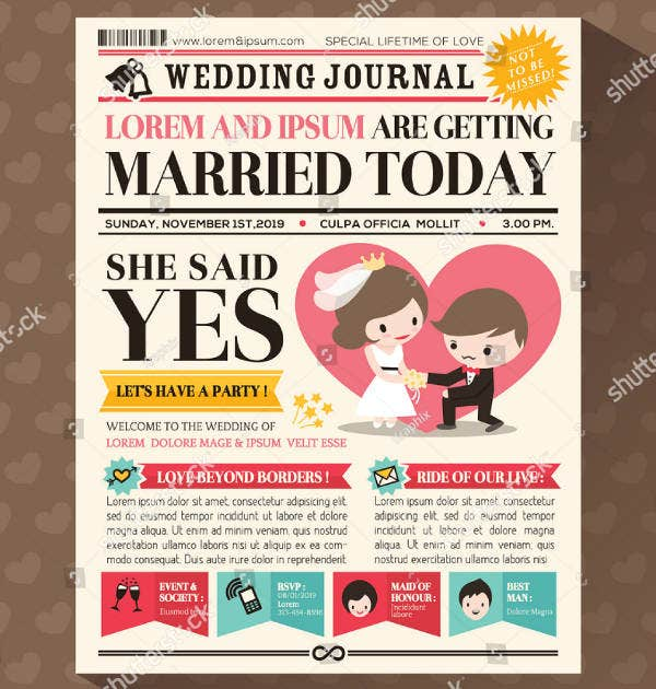 Newspaper Themed Wedding Invitation Template