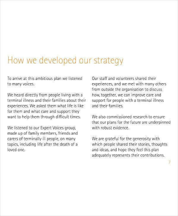 Nonprofit Cancer Care Strategic Plan Sample