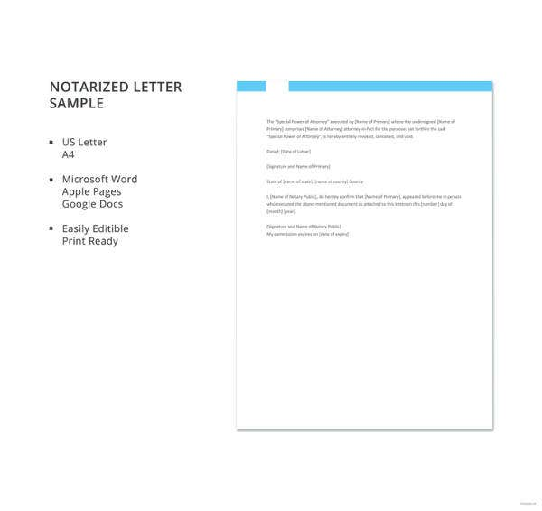 Notarized Letter Sample. Details