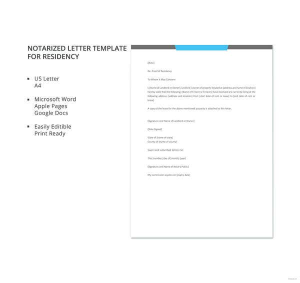 Notarized Letter Templates PDF DOC Free Premium Templates - Proof of residency letter template word