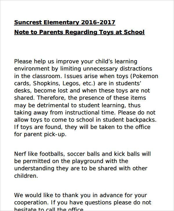 note regarding toys at school