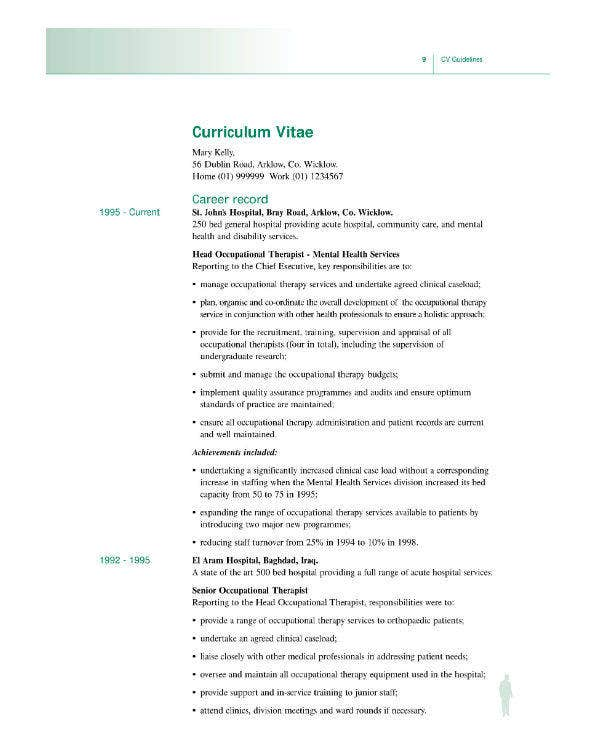 Nursing CV Guideline Sample