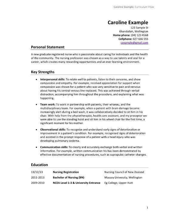13+ Nursing CV Sample & Templates - PDF, PSD, AI, DOC ...