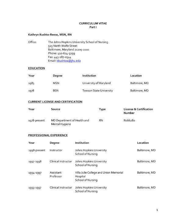 Nursing Fresh Grad CV Sample