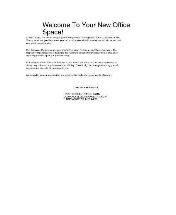 Office Welcome Note Example