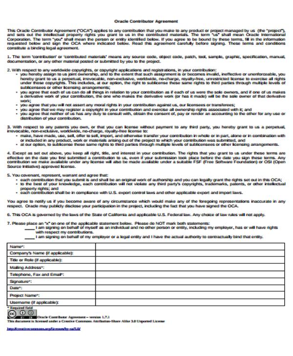 12 Contribution Agreement Templates Pdf Free Premium Templates