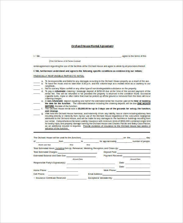 orchard house rental agreement