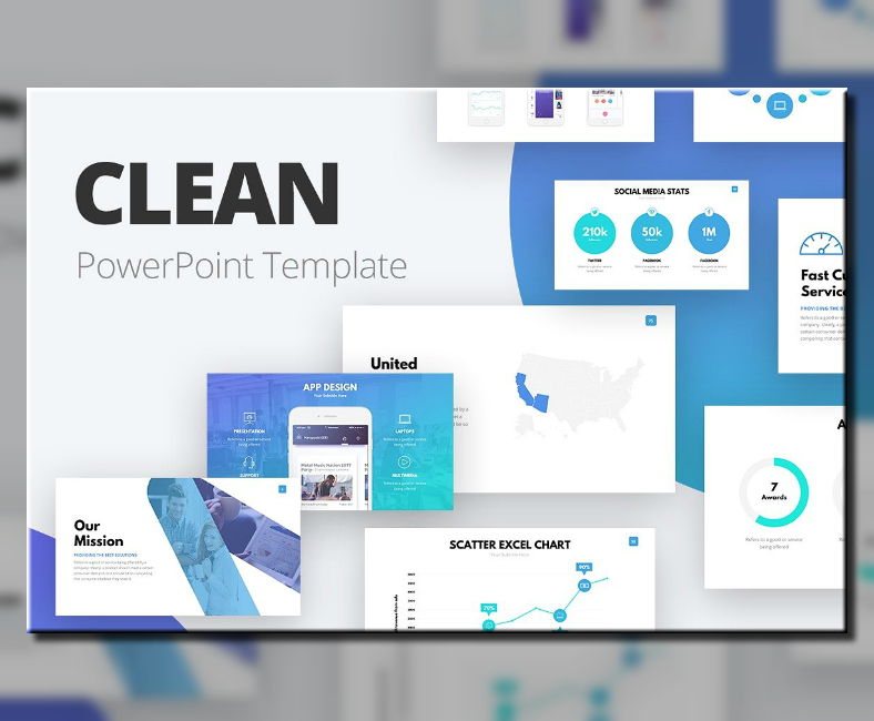 organized clean powerpoint template 788x650