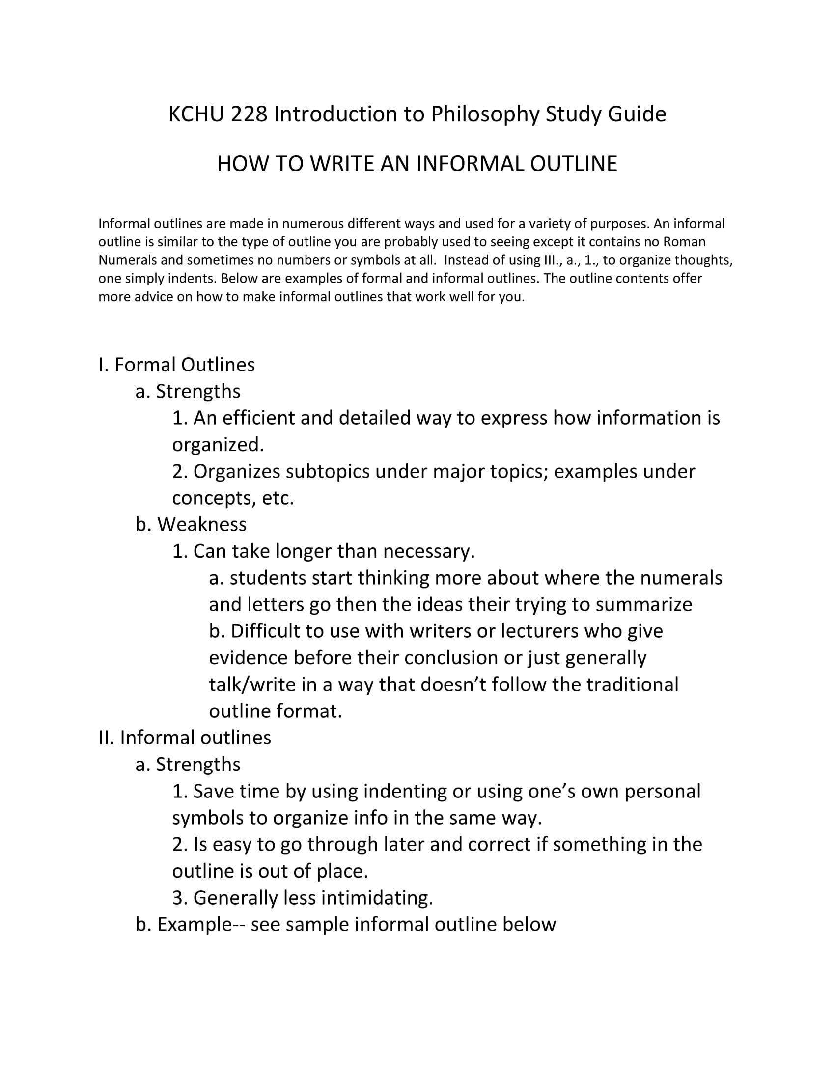 Informal essay outline