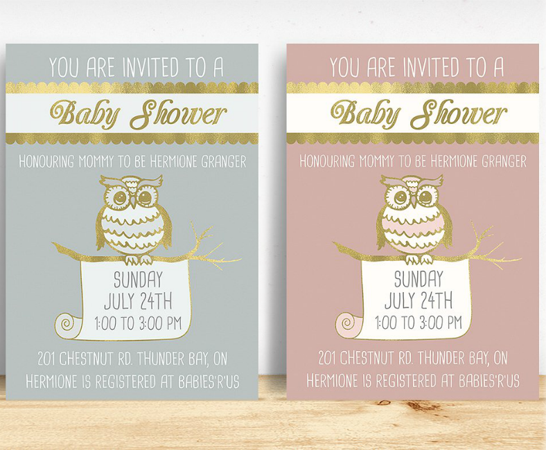 Owl Illustration Baby Shower Invitation Template