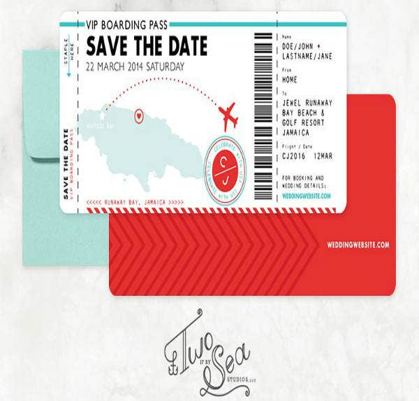 passport save the date wedding invitation example