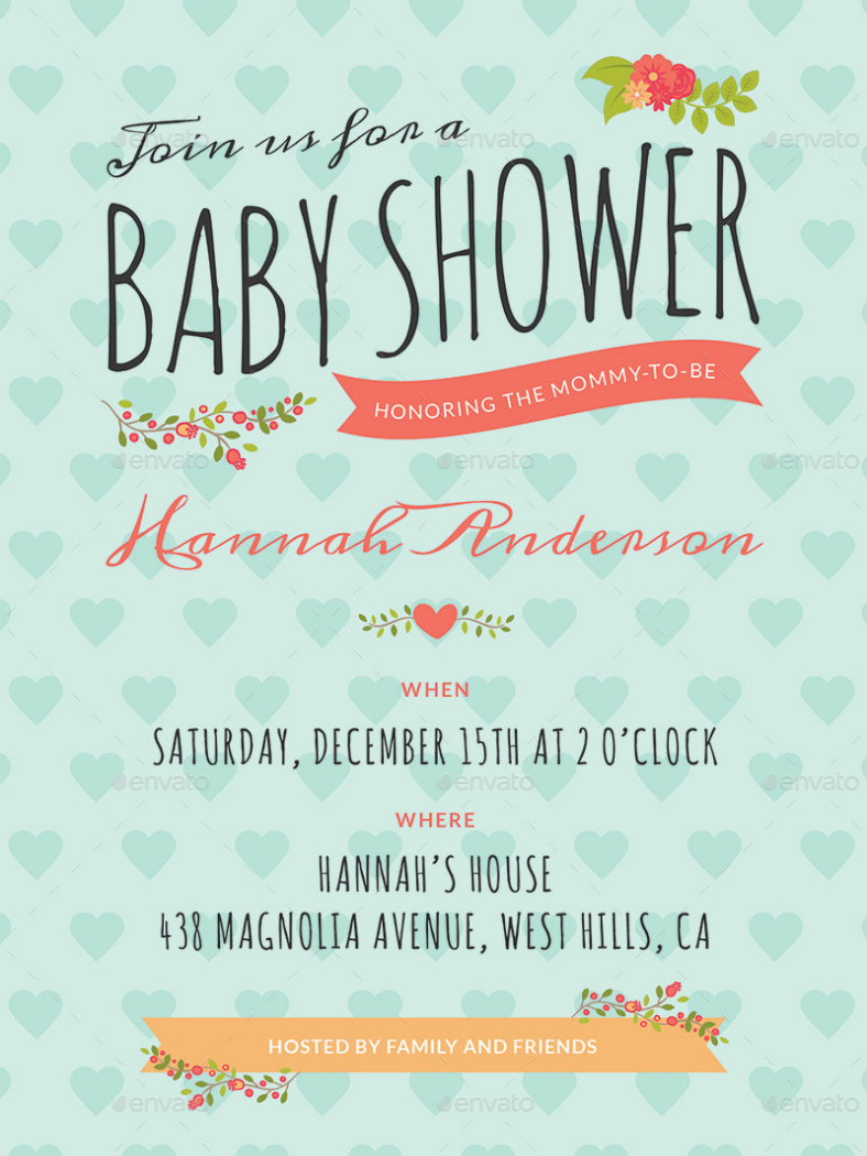 Patterned Background Baby Shower Invitation Template