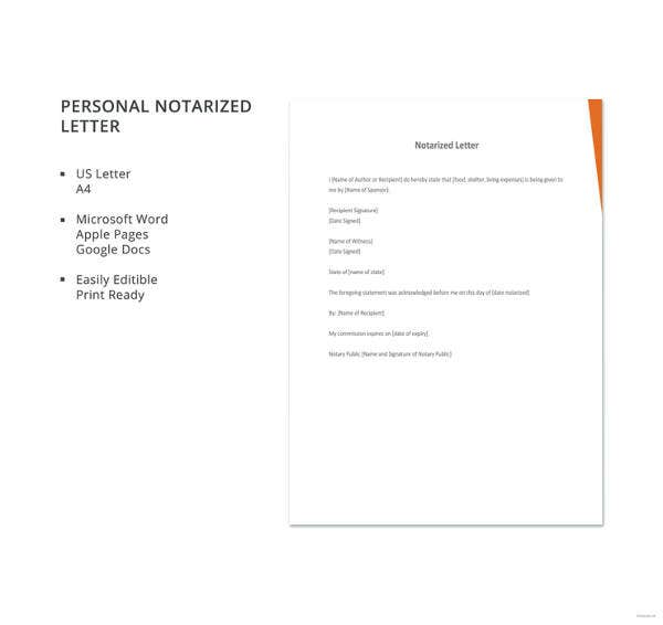 personal notarized letter template