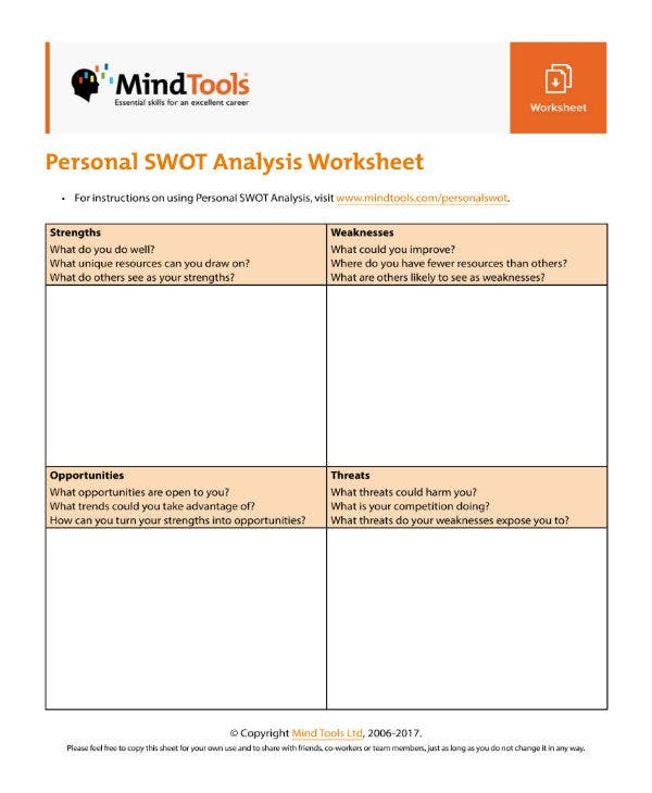personal swot analysis worksheet 1