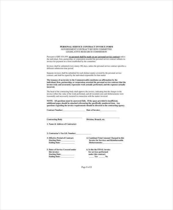 personal service invoice template2