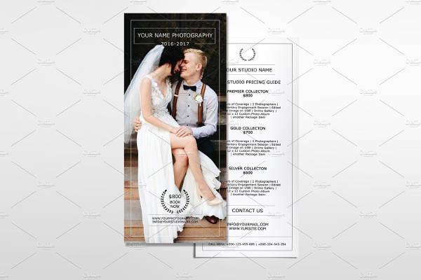 Photography Price List Rack Card