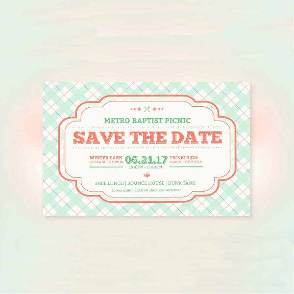 Picnic Party Save The Date Flyer Invitation