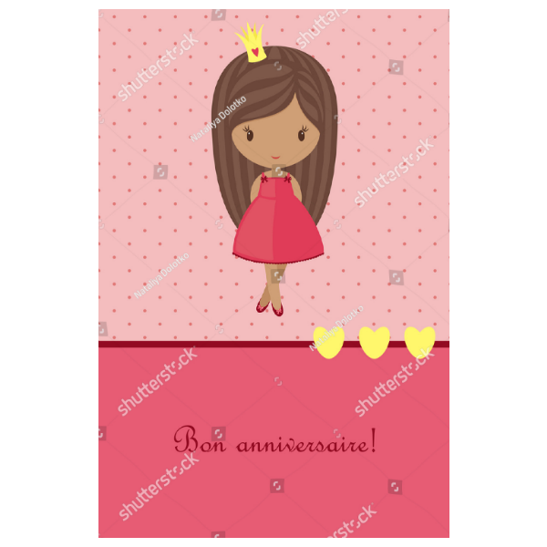 Pink Dress Girl Birthday Card Template