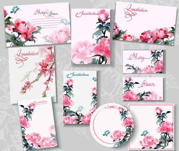 Pink Floral Blank Wedding Templates