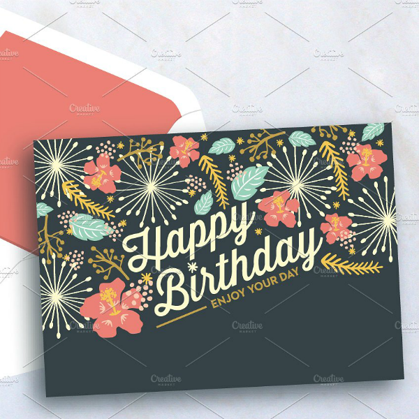 Pink Flowers Personalized Birthday Card Template