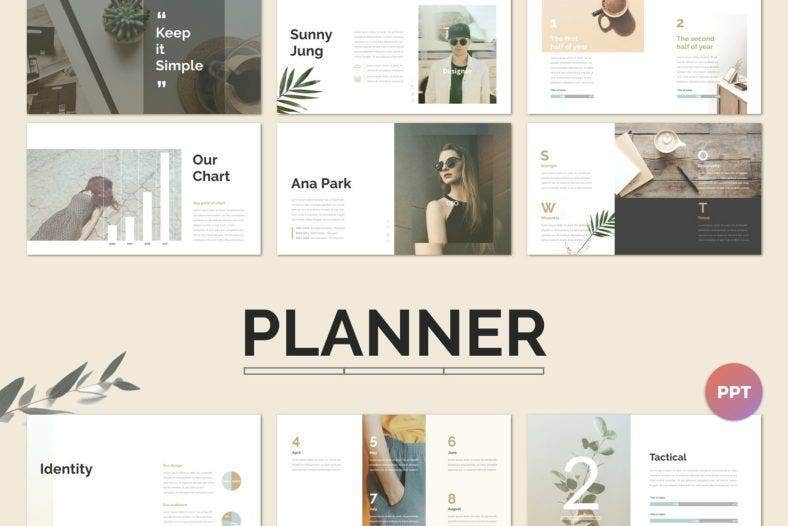 planner simple powerpoint template 788x526