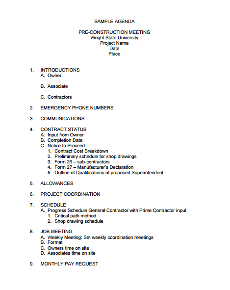 preconstruction meeting minutes sample agenda