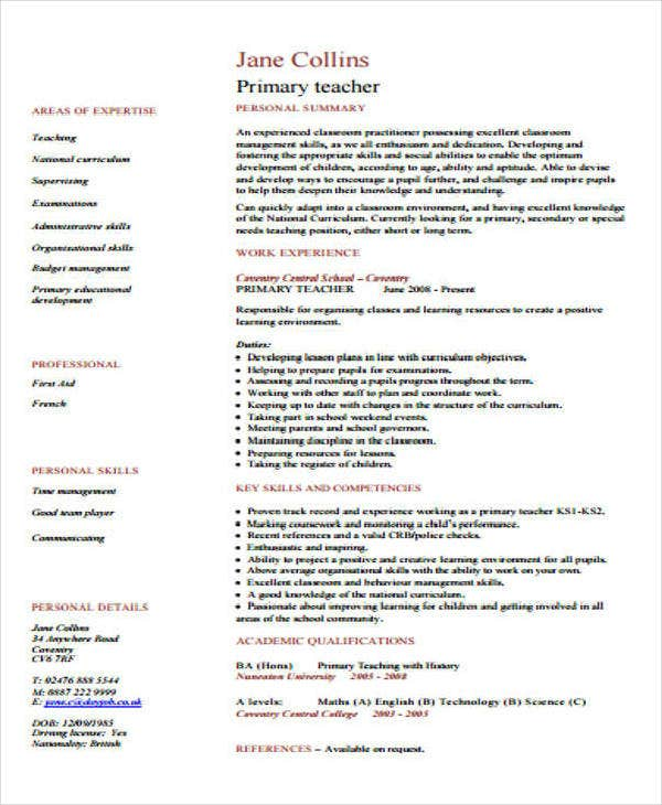 Primary Teacher CV Example