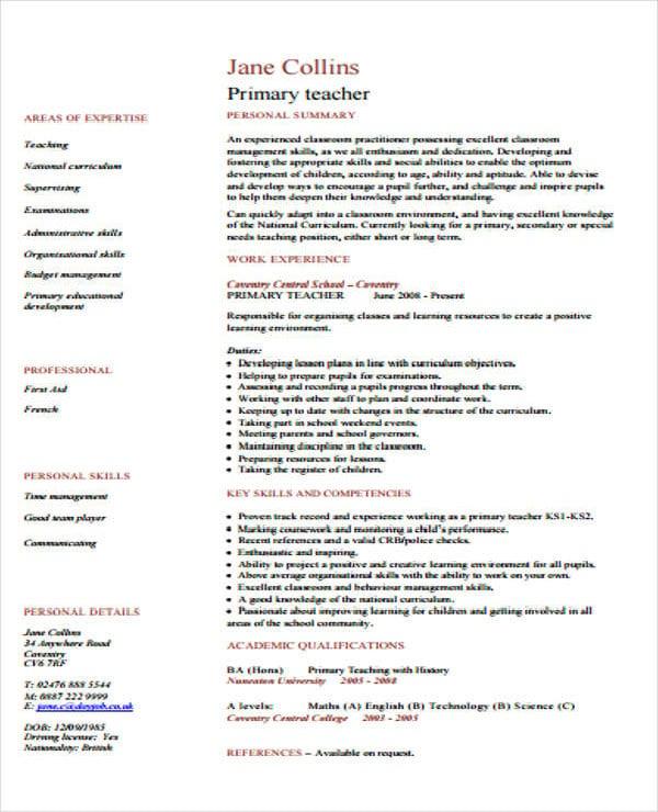 primary teacher cv