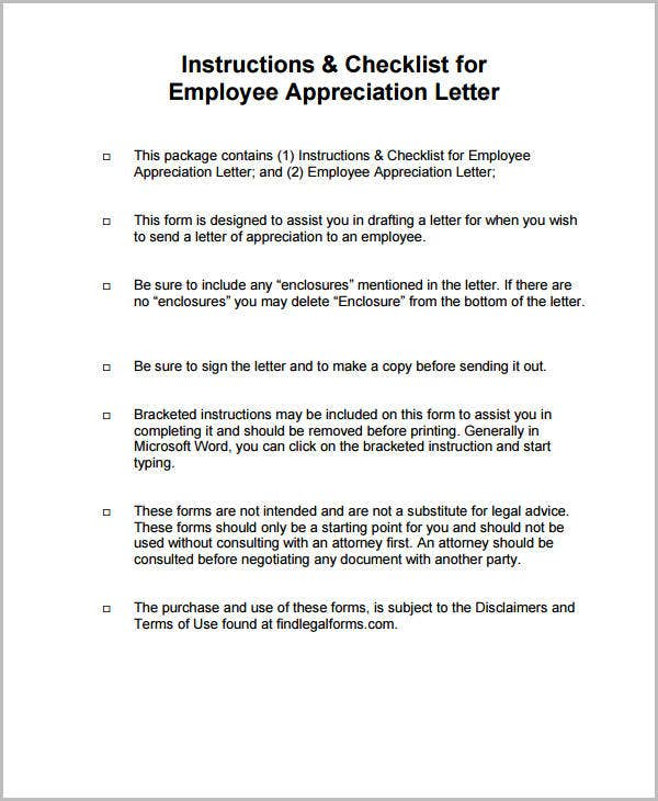 printable employee appreciation letter