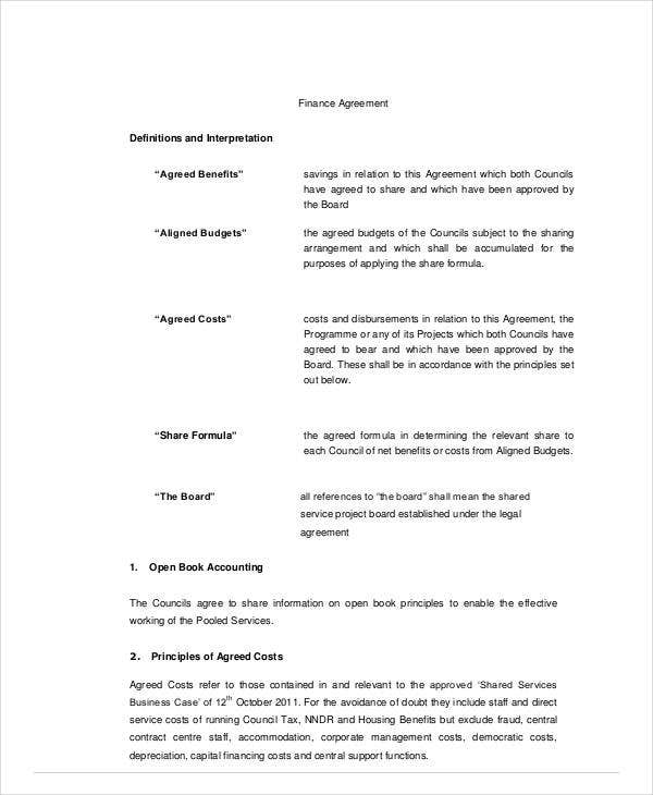 printable finance agreement