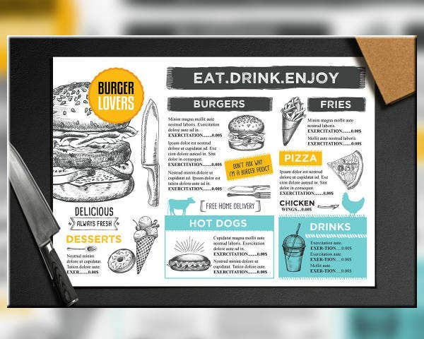 Printable Menu Card Example