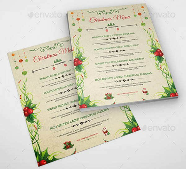 Printable Menu Card Template