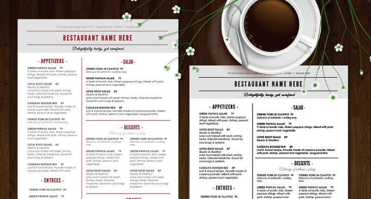 photo relating to Printable Menus titled 14+ Printable Menu Card Layouts Templates - PSD, AI Totally free