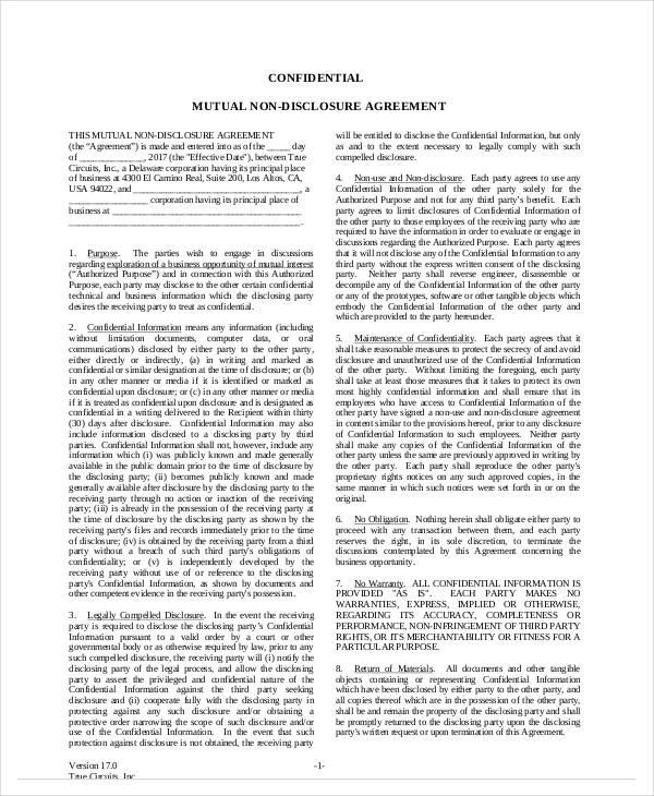 printable mutual non disclosure agreement