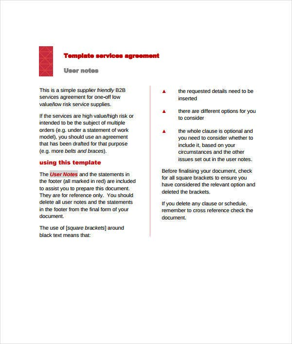 printable services agreement