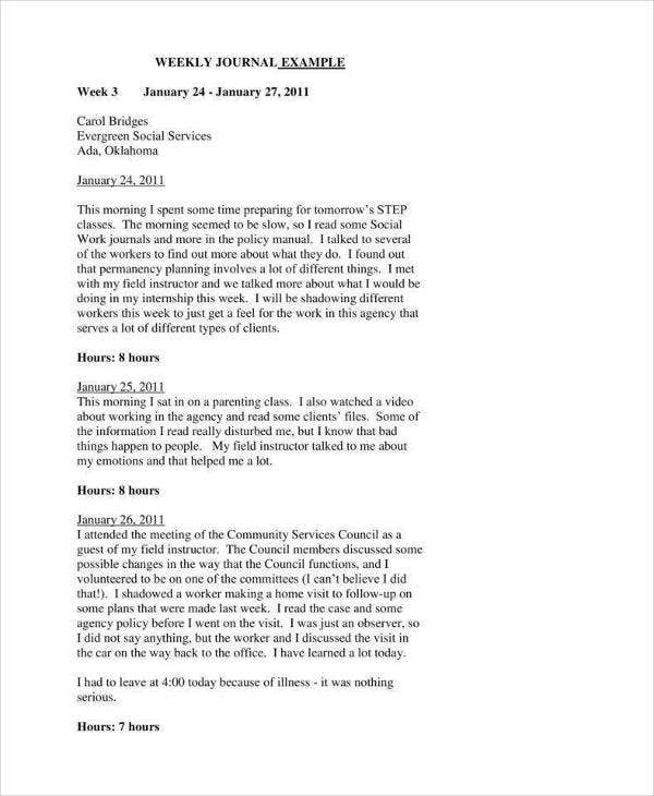 printable weekly journal template