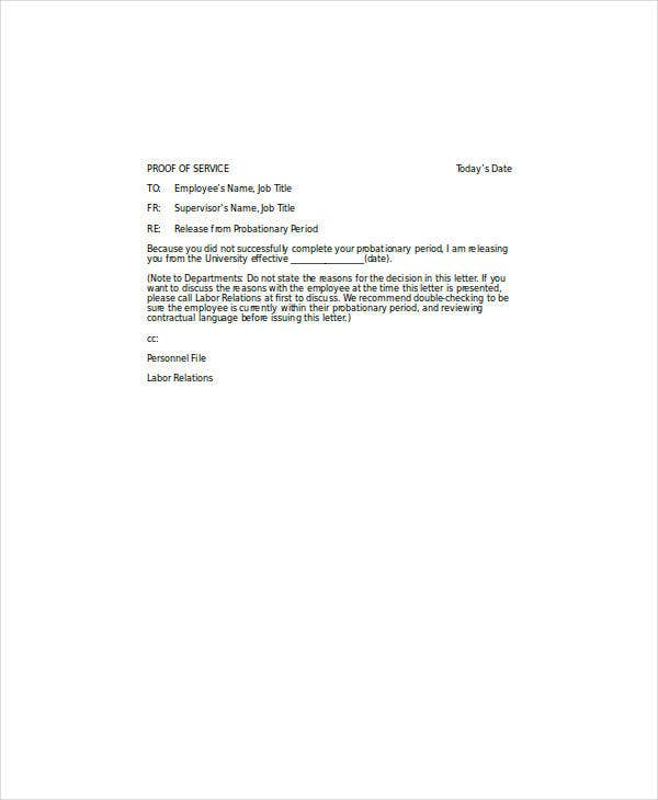 probationary period release letter