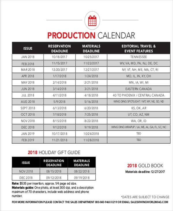 production calendar example