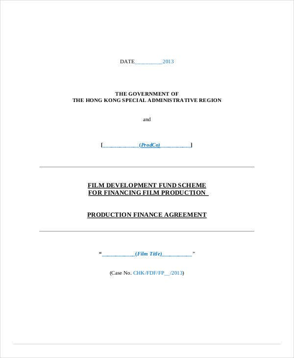 production finance agreement