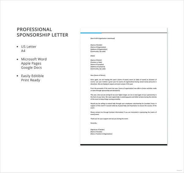 professional sponsorship letter template1