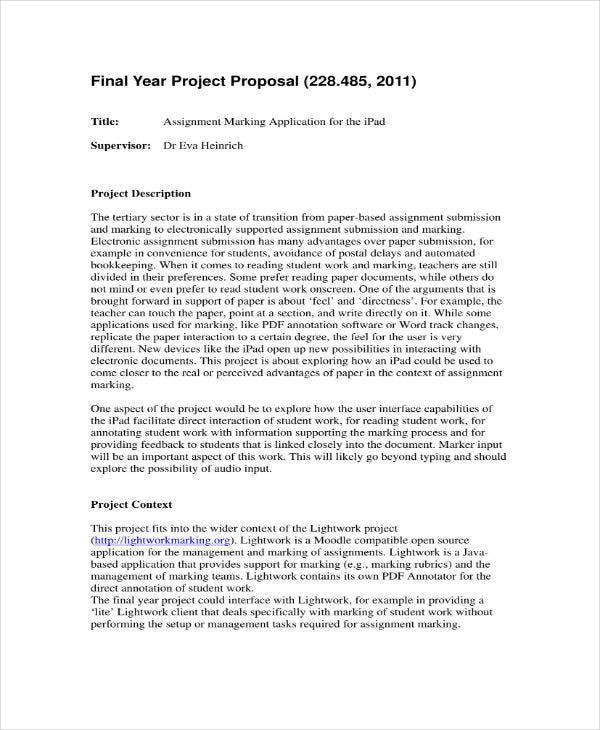 Proposal Template for Final Year Project