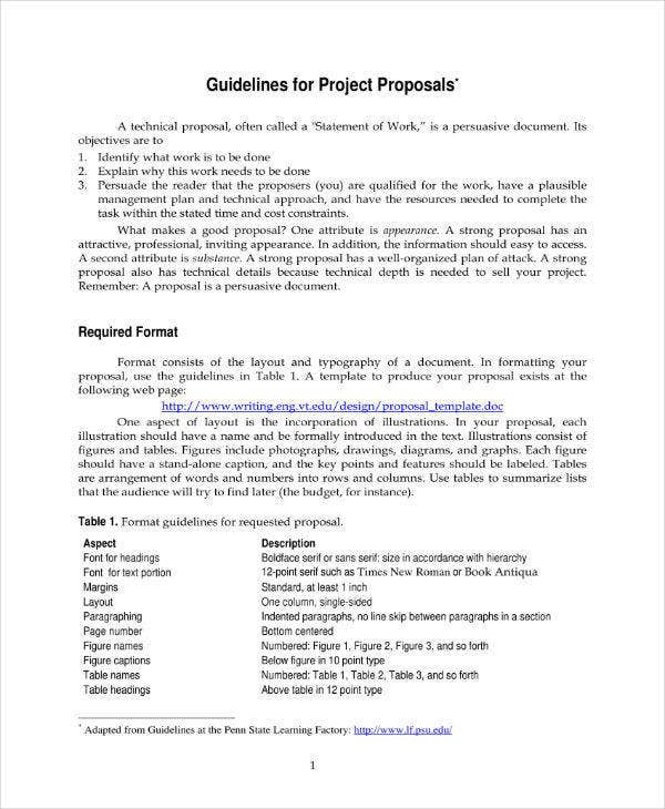 proprosal guideline sample