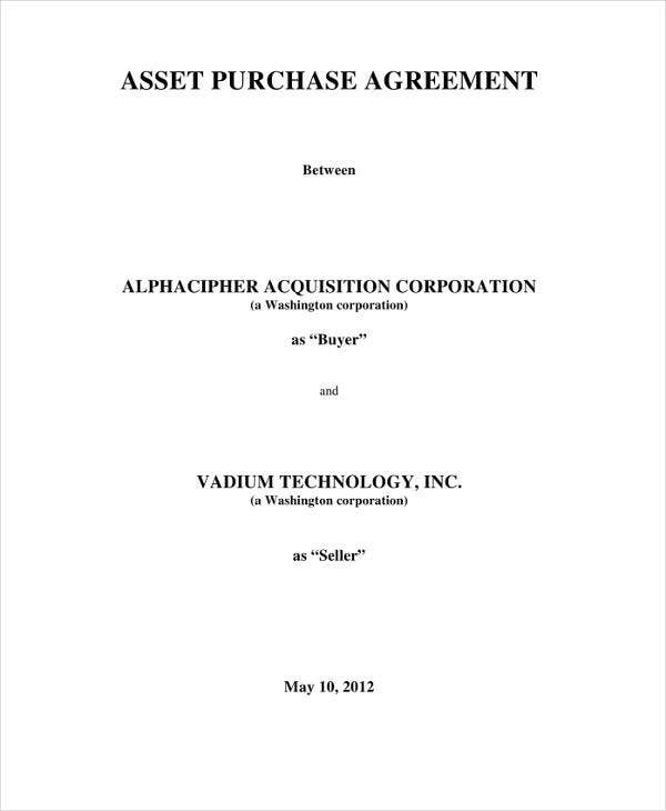 purchased asset transfer agreement1