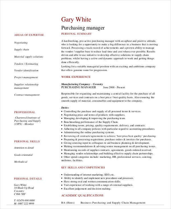 purchasing manager cv template example