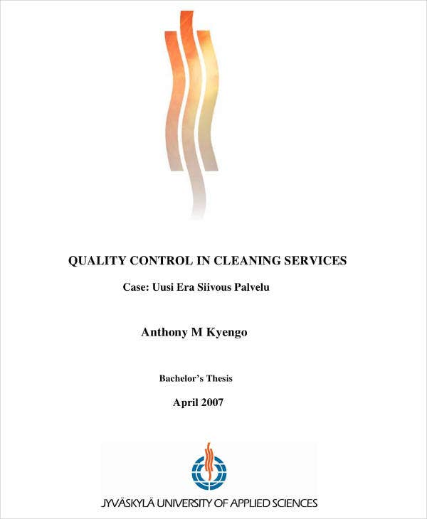 Quality Control Cleaning Service Plan