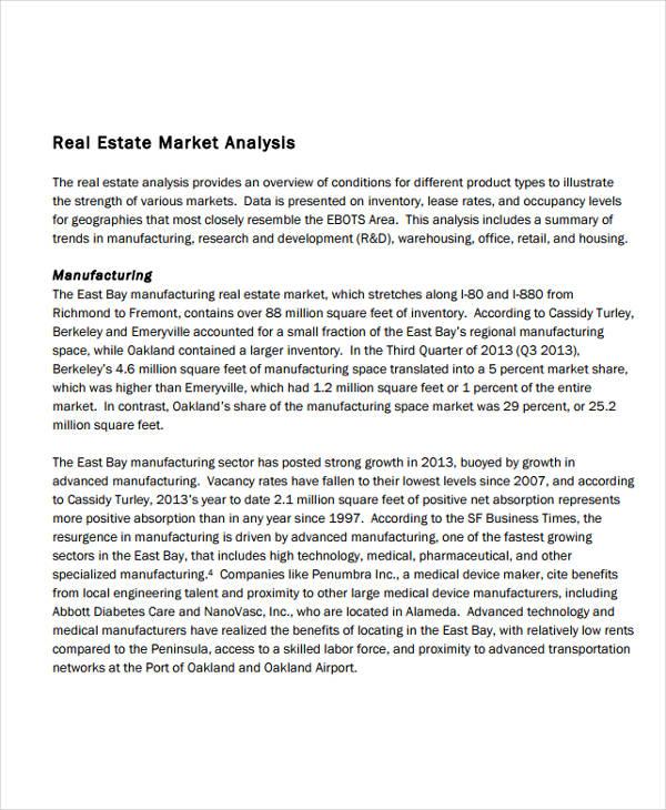 real estate market analysis sample